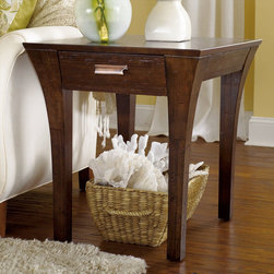 """Hammary - Urban Flair Rectangular Drawer End Table in Umber Finish - """"The Urban Flair collection from Hammary is crafted of Fir Solids and Birch Veneers with a Beveled Glass Umber finish. A casual grouping that combines clean, contemporary and rustic accents with modern shapes."""