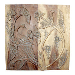Kammika - Bird Wall Panel Sust Wood 30x30x2 inch w Eco Friendly Livos Agate Grey Oil Fin - Add a dash of the exotic to your home with this lovely Sustainable Monkey Pod Wood Wall Panel Bird 30 inch x 30 inch Height x 2 inch thickness in Eco Friendly, natural food-safe Livos Agate Grey Oil. It depicts birds roosting peacefully among the graceful, twisting branches of a flowering tree. Open your senses and you can almost hear their joyful song! Each panel is meticulously carved out of joined panels of monkey pod wood. To make hanging easier, there are two embedded hangers for a protruding screw from your wall. All are hand carved in Thailand. The panels are made of sustainable wood grown specifically for the wood carving and furniture making industry, and are hand rubbed in natural non toxic eco friendly Livos Agate Grey oil that is polished to a matte highly water resistant and food safe finish. The oil makes the wood turn to a marbleized stone look finish. The light portions of wood turn to shades of beige and the dark wood lightens to shades of brown with a light transparent white top coat. This is then polished to a matte finish. Some people think it is fossilized stone at first. These natural oils are translucent so the wood grain detail is highlighted. All products are dried in solar kilns and or propane kilns. No chemicals are used in the process, ever. All products finished by hand rubbed oils. Each Eco Friendly Functional Art piece is kiln dried, sanded, hand rubbed with Livos Agate Grey oil; and then they are packaged with cartons from recycled cardboard with no plastic or other fillers. As this is a natural product, the color and grain of your piece of Nature will be unique, and may include small checks or cracks that occur when the wood is dried. Sizes are approximate. Products could have visible marks from tools used, patches from small repairs, knot holes, natural inclusions, and/or worm holes. There may be various separations or cracks on your piece whe