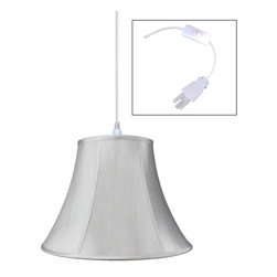 "Home Concept - 1-Light Plug-In Swag Pendant Lamp Grey 9x18x13.5 - Plug In Swag Pendant - The perfect addition to any dark corner, or above a table that the builder didn't provide electrical wiring. You will love your swag pendant light because it can move anywhere and put the light exactly where you need it. Wondering about size?  Simply add the length and width of your space and that will give you the maximum bottom width of your pendant. If your swag is not centered in the room, you should likely use smaller measurements to define the ""space"" you are lighting up.      Why Upgrade to Home Concept Signature Pendants?       Top Quality Premium Lampshades means your room will glow with a rich, warm luster your guests will notice.  Plus we include upgrades like a premium inner lining and dual bulb clips so your new shade will last for years.      Heavy brass and steel frames mean you can feel the difference when you lift it."