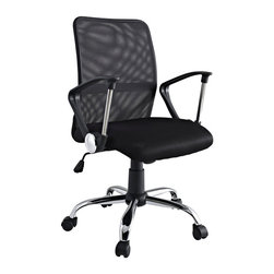 Modway - Modway EEI-721 Pilot Office Chair in Black - Steer your way to a simple yet affordable seating experience. With a mesh screen back and padded seat and fashionably rounded dual-toned arms, save money while gliding your way into work each day. Pilot comes with lumbar support, pneumatic height adjustment, a black nylon base, dual wheel carpet casters and a full 360 degree swivel.
