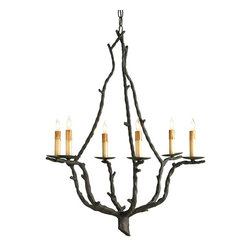 Lighting - Hand forged techniques are used to create this slightly nonsymmetrical 6 foot chandelier. A familiar shape is created with a different approach in material and styling.