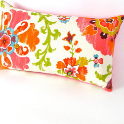 Suzani Pink and Orange Pillow Cover by Mi Casa Bella - Etsy continues to be one of my favorite places for unique, one-of-a-kind home accessories. This bold suzani pillow will add a touch of freshness and brightness to any area.