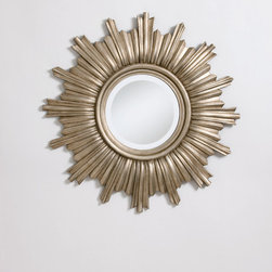 Glamour Starburst Mirror - A modern take on a classic eighteenth century French silhouette, the starburst mirror is dramatic and glamorous. The cast composite body is finished in a warm faux silver leaf with a light antique wash.
