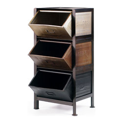 Steel Stack Bin Rack - When you set up this unique storage system in your bedroom, it won't seem so bad to literally toss your socks, shirts and shorts into the trio of bins. In all seriousness, the versatile unit proves to your family you've got household organization all sewn up.