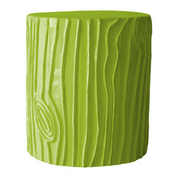 "Stray Dog Designs - Stray Dog Designs Stump Douglas Fir Stool/Accent Table - A chic rendition of a tree stump, this versatile piece can be enjoyed as a stool or accent table. Its papier-mache faux bois design in Douglas Fir green brightens transitional interiors while offering additional seating or table surface. 16"" Dia. x 19""H; Papier-mache and rebar; Handcrafted by artisans from recycled materials; Finished with low VOC paint"