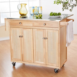 Belham Living - Belham Living Milano Portable Kitchen Island with Optional Stools Multicolor - E - Shop for Kitchen Islands from Hayneedle.com! Our customers asked and we listened!The Milano Kitchen Cart is one of our top-rated best-selling kitchen islands and now you can customize it to suit your unique needs. This kitchen cart features expanded storage space for pots pans or small appliances. You'll also have the option to select two matching counter stools to complete your purchase. Perhaps best of all this kitchen cart includes interchangeable wood knobs and metal hardware as well as stationary legs and caster wheels. This versatile design allows you make the best configuration for your kitchen and to refresh the appearance as you see fit. The Milano Kitchen Cart will make a smart stylish addition to your kitchen. It features a stainless steel countertop which is an ideal surface for food preparation because it is non-porous durable and easy to clean. A drop leaf adds an additional 12 inches of work space to the countertop and it's convenient for use as a breakfast bar or a buffet if you select the matching counter stools.The leaf is supported by a swing-out arm so the footprint of this cart remains manageable. The backside of the cart is fully finished so it looks great from every angle. Included with your purchase are both white-finished wood and stainless steel hardware which can be switched out at any time. You'll also receive stationary legs and caster wheels (two locking) so you can decide on the best option for your kitchen. Two utility drawers are the perfect place for storing spices or cooking utensils. Two cabinets offer remarkable storage space for pots and pans cooking sheets bowls and more. Both cabinets feature adjustable shelves so you can make them work for you. Clean-up is never a problem thanks to the built-in towel bar that keeps your towel in easy reach. A knife rack on the other ends means you'll never have a reason to step away from this ca