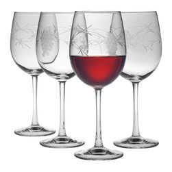 "Susquehanna Glass - Sonoma Handcut All Purpose Wine Glass, 16oz, S/4 - Each 16 ounce wine glass features a handcut 'Sonoma"" design. Artisans use a series of rotating stone wheels to apply a grapevine design which wraps around the glass. Dishwasher safe. Sold as a set of four. Made and decorated in the USA."