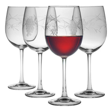 """Susquehanna Glass - Sonoma Handcut All Purpose Wine Glass, 16oz, S/4 - Each 16 ounce wine glass features a handcut 'Sonoma"""" design. Artisans use a series of rotating stone wheels to apply a grapevine design which wraps around the glass. Dishwasher safe. Sold as a set of four. Made and decorated in the USA."""