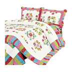 Blancho Bedding - Zinia100% Cotton 3PC Floral Vermicelli-Quilted Patchwork Quilt Set Full/Queen - Set includes a quilt and two quilted shams (one in twin set). Shell and fill are 100% cotton. For convenience, all bedding components are machine washable on cold in the gentle cycle and can be dried on low heat and will last you years. Intricate vermicelli quilting provides a rich surface texture. This vermicelli-quilted quilt set will refresh your bedroom decor instantly, create a cozy and inviting atmosphere and is sure to transform the look of your bedroom or guest room.