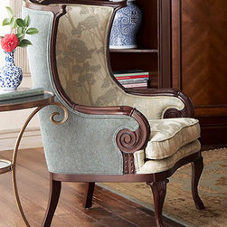 "Massoud - Wingback Chair - Bring nature into your home with the Massoud Wingback chair upholstered in a fabric with a lovely tree design.  This beautiful chair is handsomely crafted with a carved beech frame. Measures 26""W x 33""D x 43""T."
