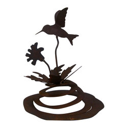 hummingbird spring garden sculpture - Our hummingbird spring garden sculpture moves with the wind. It is a great addition to any yard or patio. It cut from heavy rusted steel and hand made in America. It is designed by California artist Susan Regert.
