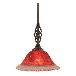 "Toltec - Toltec 80-DG-736 Dark Granite Finish Mini Pendant - Toltec 80-DG-736 Dark Granite Finish Mini Pendant with 10"" Raspberry Crystal Glass Shade"