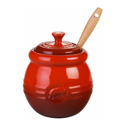 Le Creuset - Le Creuset Stoneware BBQ Pot, Cherry Red - Le Creuset stoneware specialty crocks lend convenience and character to the countertop or tabletop, with food-inspired stylings and signature Le Creuset colors. Whether serving or storing, these classic designs recall traditional kitchen jars and crocks and feature all the durable and quick-cleaning benefits of Le Creuset stoneware.