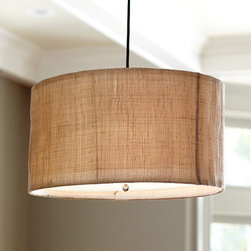 Ballard Designs - Natural Woven 3-Light Pendant - Frosted glass diffuser included. 10' fabric covered hanging cord. Our 3-Light Pendant serves up loads of natural texture along with direct lighting that's perfect over a dining room table. Choose between an antiqued burlap weave or a rustic natural twine weave with open construction.Natural Woven Pendant features: . .