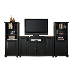 """Crosley - Alexandria 60"""" TV Stand and Two 60"""" Audio Piers in Black Finish - Our 60"""" TV stand and audio pier combination offers a unique solution for both display and storage. Extremely versatile, this combo features adjustable shelves allowing you to effortlessly organize by design. Two audio piers save space yet provide abundant storage options, while the TV stand offers a cord management system that tames the unsightly mess of tangled wires."""