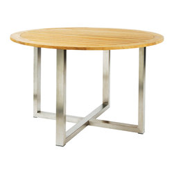 "Tiburon Round Dining Table - By Kingsley Bate - The stylish stainless steel base of the TIBURON 48"" round dining table leaves plenty of legroom. Shown with our TIVOLI side chairs, the table perfectly accompanies all of our stainless chair designs."