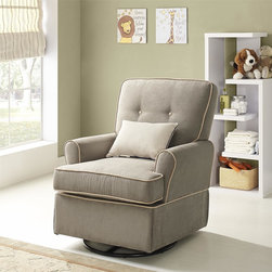 dorel asia - Baby Relax Tinsley Swivel Glider - This glider was conceived with comfort in mind,and it features not only a rotating swivel function but a smooth gliding motion as well. The soft microfiber fabric is easy to care for and three color options are available.