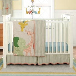 MiGi Little Circus 3 Piece Crib Set - Bring the circus to your nursery with the MiGi Little Circus 3 Piece Crib Set. This whimsical set features sweet animal embellishments that include an elephant, giraffe, and lion in soft pastel colors. Made with soft , natural cotton, this three-piece set includes a comforter, sheet, and crib skirt. The crib sheet and skirt are printed to match the comforter. This set is machine washable on cold.Dimensions:Comforter: 45L x 35W in.Sheet: 52L x 28W in.Crib skirt: 15 inch dropAbout BananafishBananafish was founded in 1997 and has grown to become a leading manufacturer of infant bedding and nursery décor. In 2007 Bananafish became part of the Betesh Group family. Bananafish has found success tapping into global design resources to bring the latest trends to their product lines. While on-trend, they still manage to balance a look that appeals to classic and contemporary tastes. You'll find Bananafish products featured in all the hot media, such as Pregnancy Magazine, American Baby, HGTV.com, OK Pregnancy and Newborn, and more. Luxurious comfort, superior quality, and style that lasts, Bananafish will help you create a nursery that delights.