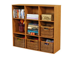 Venture Horizon - Project Center Bookcase- Oak - Every home has it's hub. A central location for family projects or individual activities. Key to it's usefulness and enjoyment is the furniture being used. Is it functional, versatile, scalable, and good looking? Will it organize and store all my required materials efficiently and close at hand? Our unique, all-in-one PROJECTCENTER sets a new standard in organizational furniture. Not only will it dramatically increase everyone's productivity but do it in style to boot.
