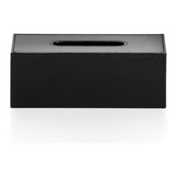 WS Bath Collections - Korame 7005 Tissue Box in Black - Korame by WS Bath Collections Tissue Box in Hand Crafted Leather in Black