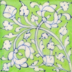 "Knobco - Tiles 4x4"", White floral on light green tile - White floral on light green tile from Jaipur, India. Unique, hand painted tiles for your kitchen or other tiling project. Tile is 4x4"" in size."