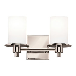 KICHLER - KICHLER Cylinders Modern / Contemporary Wall Sconce X-NP7345 - From the Cylinders Collection, this Kichler Lighting wall sconce features two cylindrical satin etched cased opal glass shades paired with a classy, brilliant Polished Nickel finish that highlights the modern take on a traditional shape. U.L. listed for damp locations.