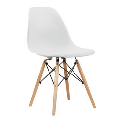 Poly+Bark - Eames Style DSW Accent Side Chair Natural Legs - (SET OF 2), White - Charles Eames's DSW (Dining Side Wood chair) Molded Plastic Chair was a winning entry of the Low Cost Design Competition organised by the New York Museum of Modern Art in 1948.