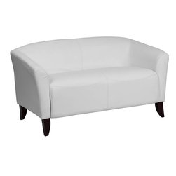 Flash Furniture - Hercules Imperial Series White Leather Love Seat - Make an impression with your clients and customers with this attractive leather reception love seat. This love seat is perfect for the office and waiting room seating. Not only will this chair fit in a professional environment, but will add a chic look to your living room space. The contemporary design of this chair will fit in a multitude of environments with its streamlined stitching and curved elevated hardwood feet.