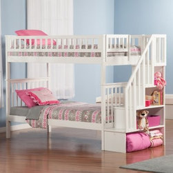 Woodland Twin over Twin Staircase Bunk Bed - A timeless craftsman design and smart storage staircase make the Woodland Twin over Twin Staircase Bunk Bed just right for any kid's bedroom. This bunk bed has the classic twin over twin design. It's well-constructed of strong hardwoods and includes a 14-piece slat kit. The storage staircase includes four open cubbies in graduated size. It may be set up at either end of the bunk bed. Customized this twin over twin bunk bed by adding on any of the optional storage or trundle bed pieces. All have the same sturdy construction and come in matching finish options.Bed Dimensions: 93.125L x 42.5W x 66H inches93.125L x 56.625W x 66H inchesAbout Atlantic FurnitureFounded in 1983 as Watercraft, Inc., Atlantic Furniture started as a manufacturer of pine waterbed frames. Since then, the Springfield, Mass.-based company has expanded to Fontana, Calif. The company has moved away from the use of pine and now specializes in imported furniture made of the wood of rubber trees.The Benefits of Eco-Friendly RubberwoodPrized as an environmentally friendly wood, rubberwood makes use of trees that have been cut down at the end of their latex-producing life cycle. Originally native to Thailand, the trees are removed by hand and replaced with new seedlings. In the past, felled rubber trees were either burned on the spot or used as fuel for locomotive engines, brick firing, or latex curing. Now the wood is used in the manufacture of high-end furniture. It is valued for its dense grain, stability, attractive color, and acceptance of different finishes.Atlantic's Unique Five-Step Finishing ProcessEach product in the entire line is finished with a high-build, five-step finishing process. After a thorough sanding, a wipe-on sealer is applied, followed by a tinted sealer to even the grain and color of the wood. Additional sanding prepares the surface for the first base color coat, more sanding, and a second base color coat. After a final sanding, the f
