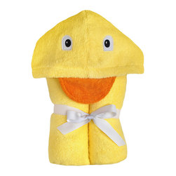 """Yikes Twins - Duck Hooded towel - A bath time classic and the towel that started it all! 100% bright yellow cotton terry with a cheery, embroidered face.  Towel size 27""""x51"""", hood size 10""""x 8.5"""".  Machine wash. Fits children ages 2-8."""