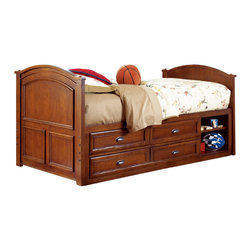 Lea Industries - Lea Deer Run Captain Bed in Brown Cherry - Full - Welcome to the Deer Run furniture collection . This is an exciting collection of youth furniture that offers up brand new ways to think about sleep, study and storage. Unique extensions for the traditional bunk bed and lift bed create even more sleep options that utilize space. Case pieces fit underneath and around these beds so you can create a whole room setting in a limited amount of space. The brown cherry color finish and antiqued pewter hardware add a classic lifestyle look to this line. Multiple sleep, study and storage options make Deer Run a great collection for any age range. We are sure you will find a room set up that works for your Child. Safety is one of the key elements Parents look for when buying products for their Children. As a supplier of Children's furnishings, we are committed to ensuring our products meet or exceed the safety requirements defined by the Consumer Product Safety Commission and the ASTM. design and function combined with safety features makes the Deer Run collection an ideal choice for any Child's room.