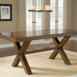 Hillsdale Furniture - Counter Height Trestle Table - Trestle style dining table. Ladder back style chairs. Table seats 6-10. Dark cherry finish. Table: 36 in. H x 84 in. L x 40 in. W (with 2 - 12'' leaves - 108 in. L)