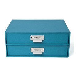 Bigso - Bigso Basix Paper Drawers, Turquoise - Bye-bye messy desk. Take your storage up a notch with our Basix Paper Drawers. This turquoise 2-drawer chest holds letter size paper, notepads, stamps and receipts. Don't stop there, use your imagination. Metal label holders remind you of what's stored inside.