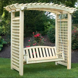 Fifthroom - Treated Pine Greenfield Arbor and Swing Set - This swing is not only comfortable to relax in, but pleasing to the eye. Place it in any outdoor retreat for added charm and style. It can enhance the view of a garden, or be enjoyed all on its own. Constructed of treated pine, it is available in a variety of colors.  Gardeners may wish to enhance the lattice on this piece with a non-invasive vine or flowering plant.
