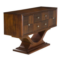Somerton Home Furnishings - Dolce Server - Dolce pedestal server in a beautiful cherry finish. Photo: Jerome's Furniture