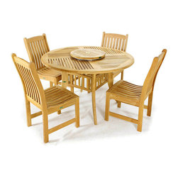 Westminster Teak Furniture - Grand Hyatt 5pc Teak Round Dining Table and Chairs - Universally appealing, The Grand Hyatt Veranda Teak Outdoor Dining Set comes complete with one Grand Hyatt Bow Legged Style (BLS) 4ft teak table and four Wave Teak Dining Chairs that will significantly enhance the exterior spaces of your home or garden for years to come.