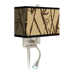 """Giclee Glow - Asian Earth Bamboo Giclee LED Reading Light Plug-In Sconce - This giclee shade wall sconce has a clean crisp look and contemporary appeal. It features a giclee printed pattern on high-quality canvas. The angular frame comes in a lustrous brushed steel finish. Installation is easy: just plug it in to any standard wall outlet. It's perfect beside a bed or a reading chair thanks to the energy efficient gooseneck LED reading light. Reading light and main light are controlled separately. This item is custom made-to-order. Brushed nickel finish. Giclee shade. Plug-in style. Takes one 60 watt bulb (not included). Gooseneck light with 12 LED array. 13 1/2"""" high 14"""" wide. Extends 6 1/4"""" from the wall. Gooseneck LED with 10 1/2"""" extension. Backplate is 5"""" wide 9"""" high 1 1/4"""" deep. Shade is 14"""" wide 5"""" deep and 8 1/2"""" high. U.S. Patent # 7347593.  Brushed nickel finish.  Exclusive Earth Bamboo pattern giclee-printed shade.  Plug-in style.  Brushed nickel finish cord cover included.  Takes one 60 watt bulb (not included).  Gooseneck light with 12 LED array.  13 1/2"""" high 14"""" wide.   Extends 6 1/4"""" from the wall.   Gooseneck LED with 10 1/2"""" extension.   Backplate is 5"""" wide 9"""" high 1 1/4"""" deep.   Shade is 14"""" wide 5"""" deep and 8 1/2"""" high."""