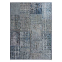 Rugsville - Rugsville Vintage Turkish Overdyed Patchwork Cool Blue  Rug 4x6 - Phenomenally gorgeous, the patchwork rugs celebrate centuries of original antique Turkish and Persian carpets. Woven in the last 100 years, original antique carpets are cut and pieced by modern day artisans into a single pastiche of pattern and color. It is then sheared and finally hand dyed in a full immersion bath of a chosen color. The effect is quite stunning, adding a vibrant overcast to the whole rug and blending. seamlessly with the prior dyes. This unique look is perfect for today's modern decor. Since the original dyes in the design blend with the overcast, each piece is gifted with its own unique and one of a kind look.