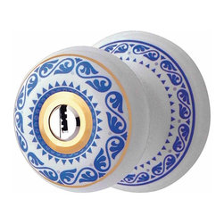 Renovators Supply - Door Locks Delft Blue Porcelain Keyed Int/Ext Door Lock Knob Set | 13310 - Porcelain Knob Key-entry Locksets provide a nostalgic charm to any home. These keyed-entry assemblies offer high quality- durability and security at affordable prices. Delft Blue pattern design gives an old world charm. Backset adjusts to either: 2 3/4 in. or 2 3/8 in. Knob diameter: 2 3/8 in.