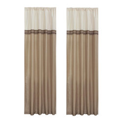 Lush Decor - Terra Beige/Ivory Window Curtain - Set of 2 - Tie-backs are not included. Includes: 2 Window Panels. Fabric Content:100% Polyester. Color: Beige/Ivory. Care Instruction: Dry clean. 54 in. x 84 in. Fun colors and classy designs makes this drapery set perfect for any room. Top loop slides easily onto your curtain rod for quick installation. Full lining provides extra insulation and privacy. Durable fabric promises lasting quality.