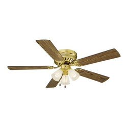 Design House - Millbridge 52-Inch Polished Brass Hugger Fan - The Millbridge Collection of fans is transitional styling in multiple finishes, styles, and sizes, and is designed to meet the tightest of budgets.  -Polished Brass Finish With Frosted Glass Shades  - 52.375 Fan With Medium Oak Blades (Walnut On Reverse Side)   - Light Kit - Included   - Install With Or Without Light Kit  - Pullchain Motor Control  - 3 Speed Reversible Motor Design House - 156604