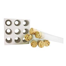 Culinarium - White Concrete 9-Spice Tube Set - SPICE SET TUBES WITH CONCRETE BASE - White