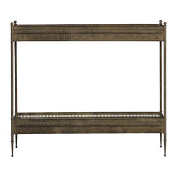 Gabby - Gabby Marcus Antique Style Console Table - Materials: Iron & antique mirror on shelvesFinish: Aged BrassWe finished a sleek iron table in an antique-style finish and added antique mirror shelving to make this table both beautiful and functional. Would be perfect as a console-style table in an entryway. 33.75 inches in height.