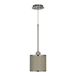"""Giclee Glow - Asian Greek Key Storm Giclee Glow Mini Pendant Light - Brushed steel finish. Exclusive Greek Key Storm giclee printed pattern. Custom printed translucent fabric shade. Maximum 75 watt or equivalent bulb (not included). 21"""" high. Shade is 7"""" wide 7"""" high. Canopy is 6"""" wide. Includes 10-foot adjustable cord.   Brushed steel finish.  Exclusive Greek Key Storm giclee printed pattern.  Custom printed translucent shade.  Maximum 75 watt or equivalent bulb (not included).  21"""" high.  Shade is 7"""" wide 7"""" high.  Canopy is 6"""" wide.  Includes 10-foot adjustable cord."""