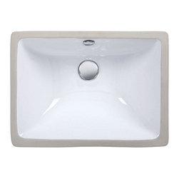 "Xylem Group - Undermount Sink 18"" Vitreous China sink - Undermount Sink - 18"" Rectangular Vitreous China sink"