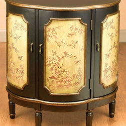 AA Importing - 3-Door Demilune Bird Design Cabinet in Black - Birds and trees are painted on the ivory panel inserts of this stunning three-door demilune cabinet, giving it a vintage appeal of a treasured family heirloom. The cabinet is finished in black with antique bronze tone trim and includes an interior shelf for added storage. Scallop half moon shaped. 3 Doors, each opens to 1 shelf. Each door decorated with a Red toile scene. Black painted finish with Antique Bronze painted trim and accents. Ivory painted inserts on door fronts that have hand painted outline design of birds. 31 in. L x 14.5