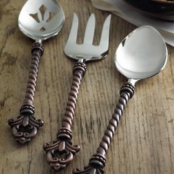 "GG Collection - GG Collection Three-Piece ""Fleur-de-Lis"" Hostess Set - Complete your GG Collection ""Fleur-de-Lis"" flatware with this stunning three-piece hostess set that includes a fork and two spoons (one pierced). From the GG Collection. Imported. Handles are made of brass; implements are stainless steel. Antiqued-bra..."