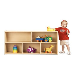 """Young Time - Toddler Two Shelf Storage Unit - Features: -Shelf storage unit. -Available in ready to assemble or fully assembled models. -It is for budget-minded buyers seeking to get the most for their classroom furniture dollar. -Features rounded corners, a durable laminate surface, and thermo-fused edge banding, which helps seal out moisture. -All products are safety tested and certified and come with a full, one year guarantee. -Affordable, American-made early learning furniture designed with a focus on the functionality you need most. -Put toys, books and other items where toddlers can reach them with this storage solution. -1 year manufacturer's warranty. -Made in the USA. Specifications: -CPSIA and CARB compliant. -Overall dimensions: 21.5"""" H x 48"""" W x 12"""" D."""