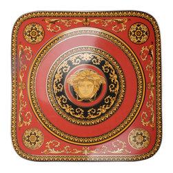 Versace - Versace Medusa Red Square Service Plate - Versace Medusa Red Square Service Plate