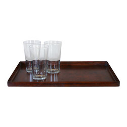 Pfeifer Studio - Oxidized Steel Tray - Sturdy and easy to clean, this solid steel tray is more than meets the eye. With an oxidized finish that adds depth, this dark brown-stained tray could hold even the fullest breakfast in bed, or a complete tea set.